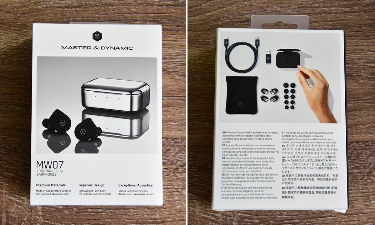 Front and back picture of MW07 Wireless earbuds