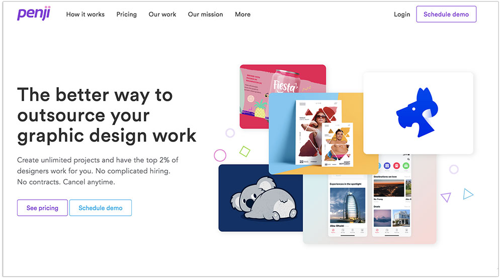 Penji unlimited graphic design landing page