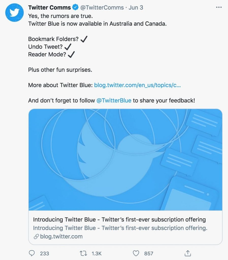 twitter comms tweets about twitter blue